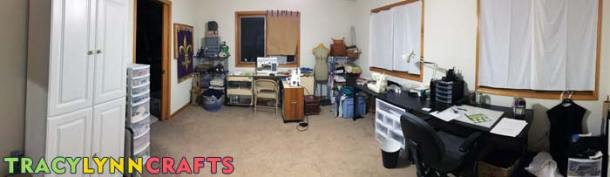 This is a panorama photo of my craft room before starting on this craft room organization and transformation
