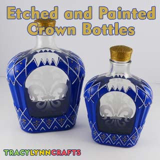 Etched and Painted Crown Bottles