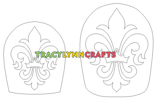 The fleur de lis design for the etched and painted crown bottles