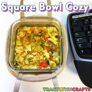 You can make your own square bowl cozy with carry handles!