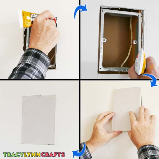 Using Liquid Nails, insert the plug into the hole and press until just below wall surface