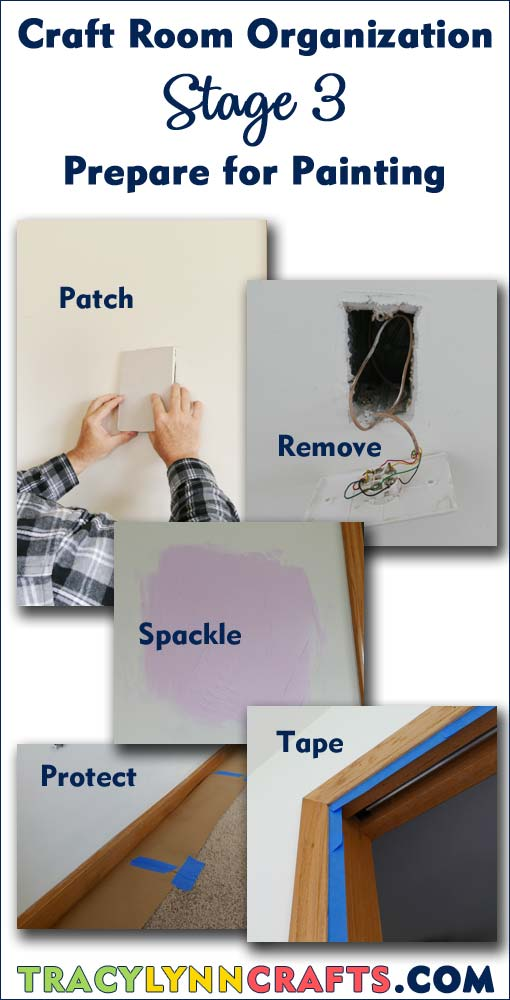 Stage 3 -Preparing for the painting stage of your craft room organization and transformation project | #diy #homedecor #craftroom #craft #room #organization #preparation #repairdrywall