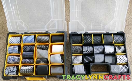You can use workshop storage containers to organize your ties