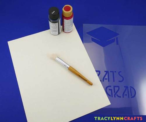 Supplies to make stenciled graduation cards