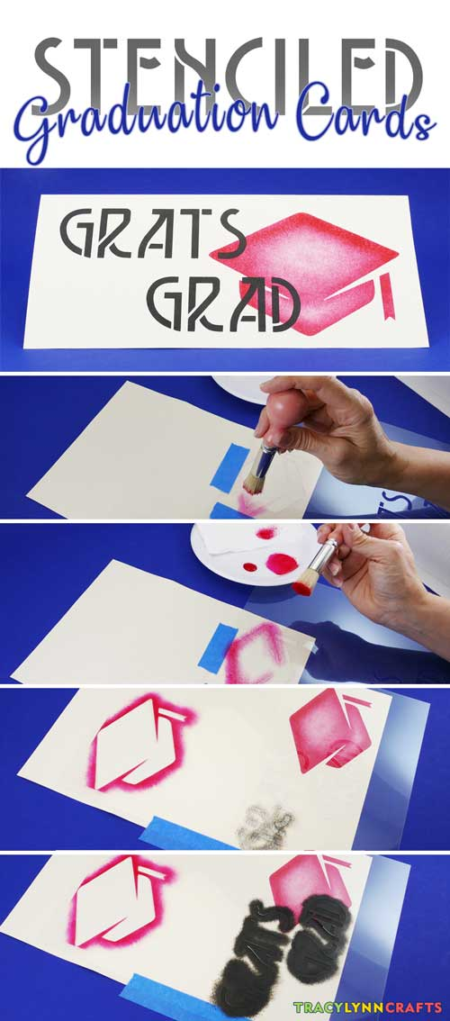 You can stencil your own graduation cards for your favorite graduate | #diy #stencil #stenciling #graduate #graduation #paperstenciling
