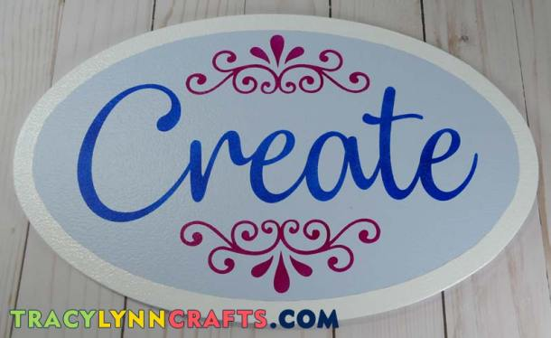 Completed sign is ready to hang in your craft room