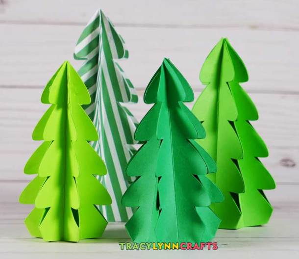 3d Christmas Tree Pattern: 3D Paper Christmas Trees