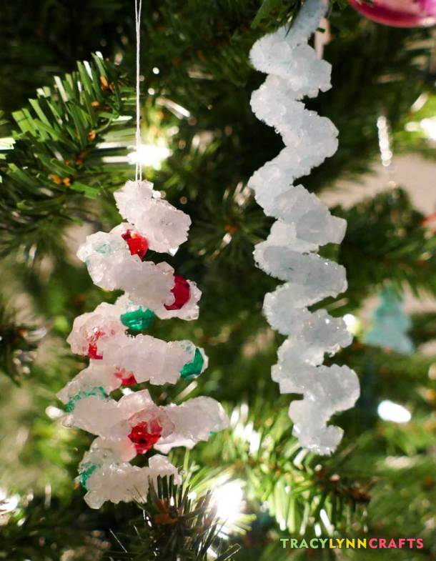 In this kid-friendly holiday craft, you and the kids can grow crystal ornaments in a day and they sparkle in the lights on your tree