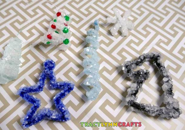 After just one day, crystals form on the pipe cleaners
