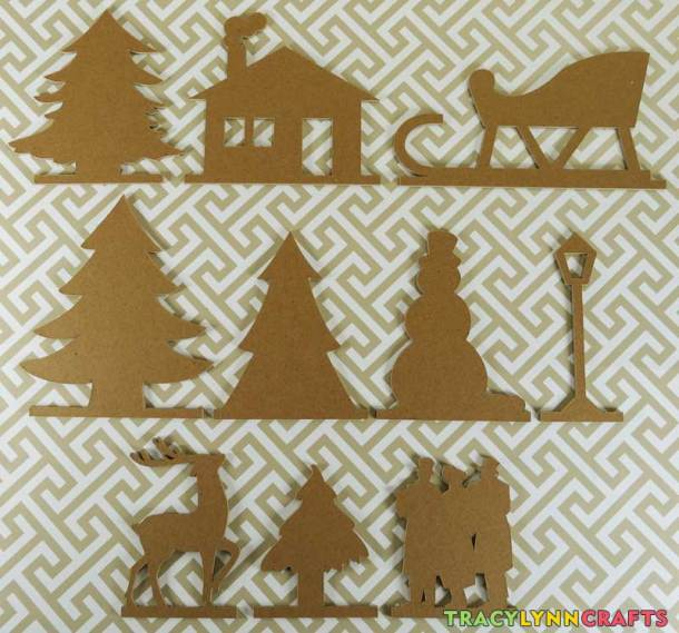 These are all the chipboard pieces after cutting on the Cricut Maker