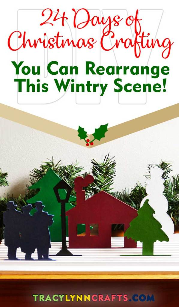 These chipboard cutouts of a wintry scene can be rearranged on the slotted base - another cute addition to your holiday decorating| #diy #christmas #chipboard #cricut #vinyl #cricut_maker