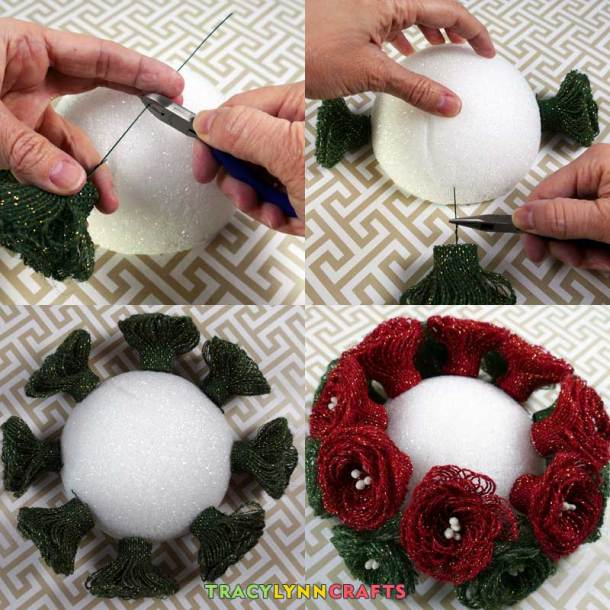 Assemble by inserting the loopy burlap flowers into the foam dome