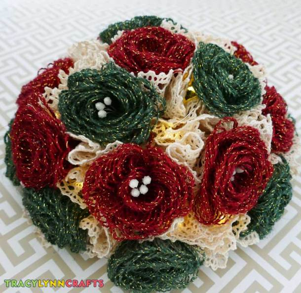 Completed loopy burlap flower holiday centerpiece
