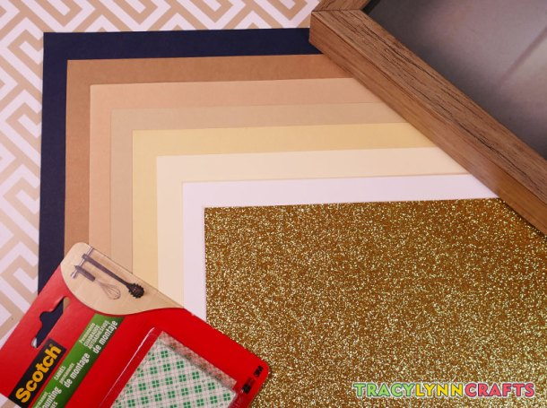 Material and supplies for the cut paper nativity scene