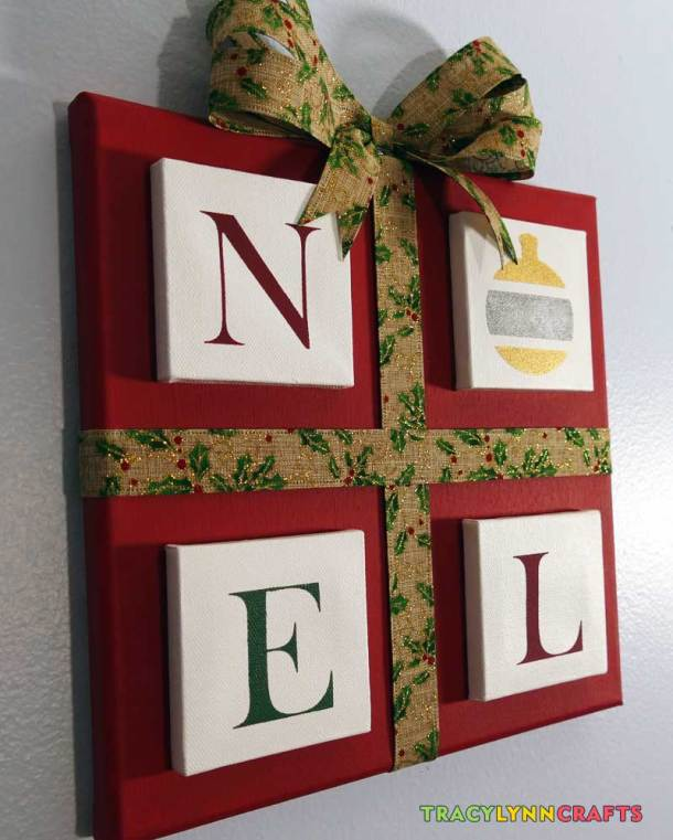 The NOEL panels provide dimension to this stenciled canvas project
