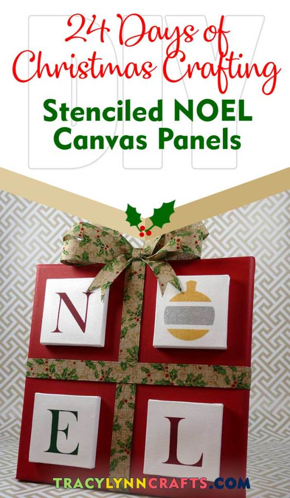 Stencil mini canvas panels and glue them to a larger panel to make this decorative addition to your Christmas holiday | #diy #christmas #stenciling #stencil #noel