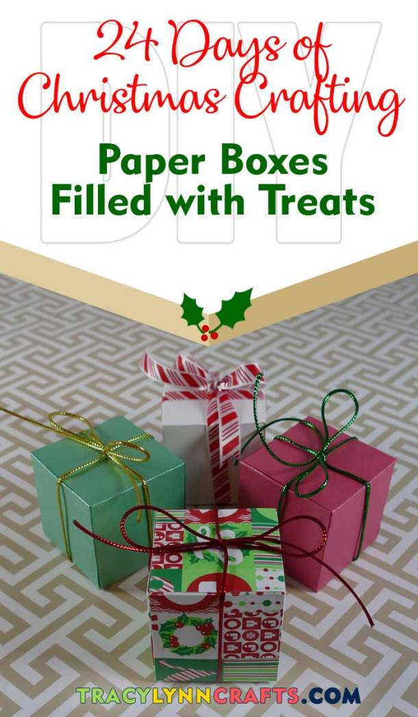 You can make these adorable little paper boxes and fill them with treats for your holiday gift-giving | #diy #christmas #cricut #gifts #paperbox #paperboxes