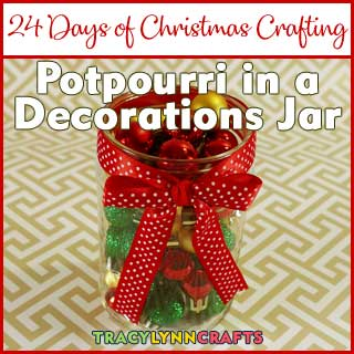 Add those crumbs from your bag of potpourri to this adorable jar filled with mini Christmas ornaments