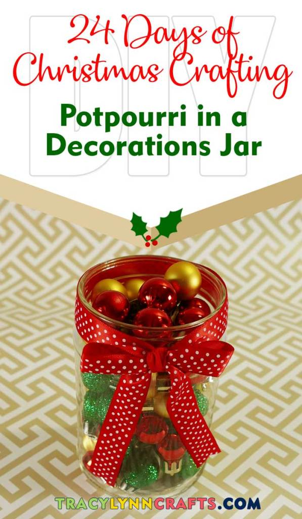 Add those crumbs from your bag of potpourri to this adorable jar filled with mini Christmas ornaments   #christmas #diy #potpourri