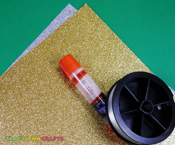 Silver and gold glitter paper ornament materials