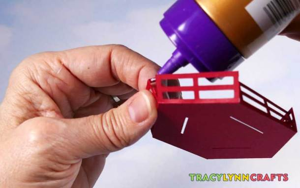 3D Paper Lighthouse - Apply glue to the tabs on the railing