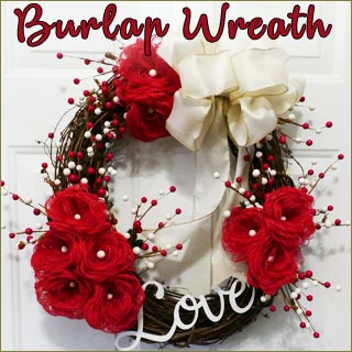 Make these adorable loopy burlap flowers then attach them to a wreath to decorate for Valentine's Day