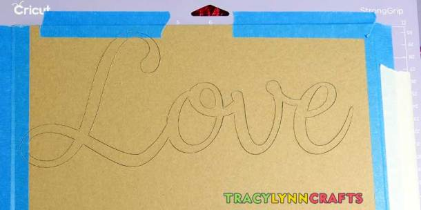 Loopy Burlap Flower Valentines Wreath - Cute the LOVE letters from chipboard on the Cricut Maker