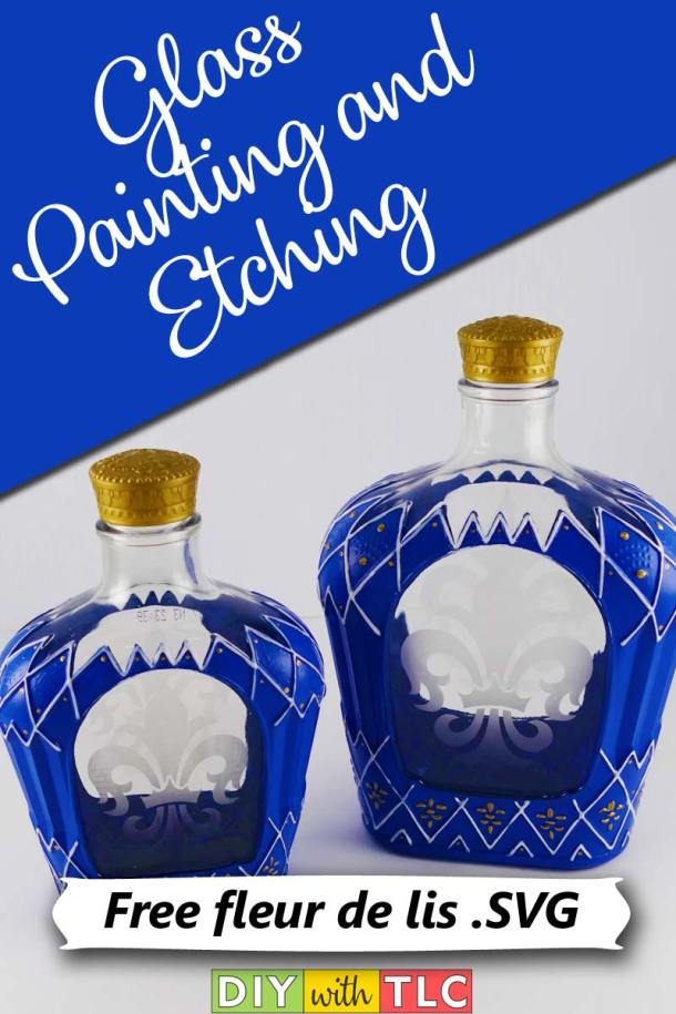 Learn how to make your own etched and painted glass bottles | #paint #glasspainting #etching #etch #etched_glass #glass_painting