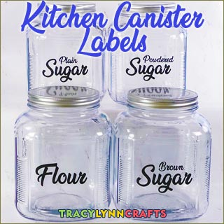 You can your own kitchen canister labels to help organize and decorate your kitchen