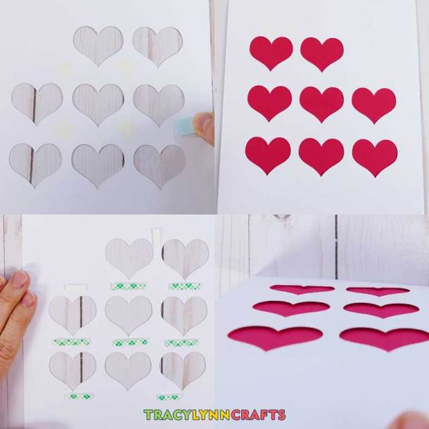 Attach the heart color behind the white cutouts of the shadow box heart art