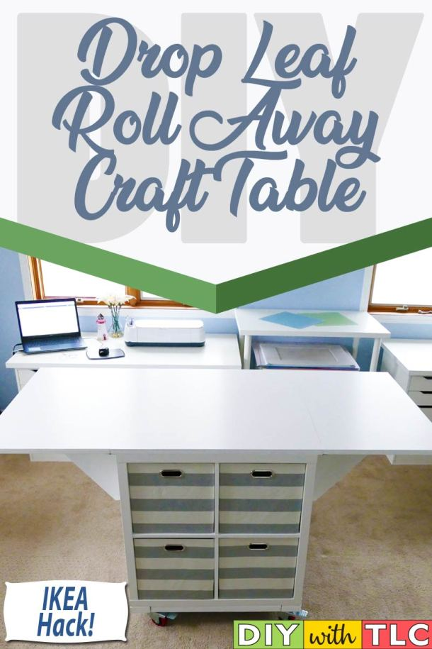 Learn how you can make this drop leaf craft table on casters for your craft room - made from two IKEA KALLAX shelves