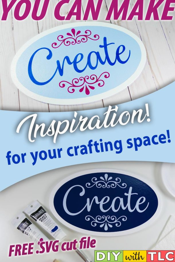 Decorate your crafting space with this inspirational sign that you can stencil | #diy #stencil #create #sign #stenciling #cricut #cricut_stencil