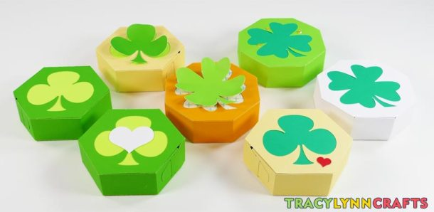 You can now embellish your shamrock boxes