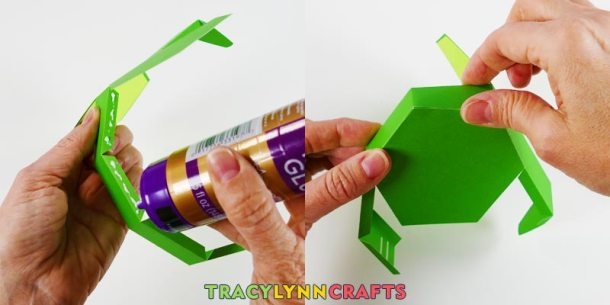 Glue the bottom of the shamrock box to the box walls