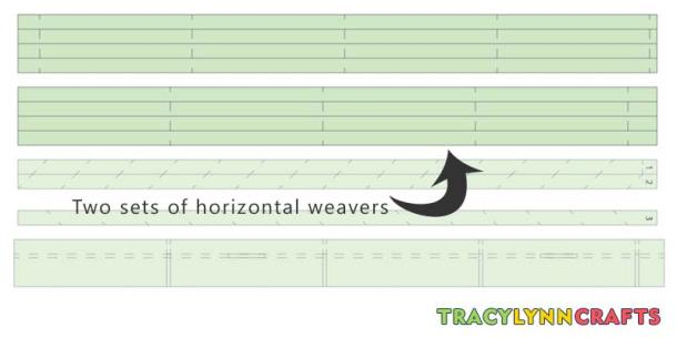 These two sets are the horizontal weavers with two different sets of score lines