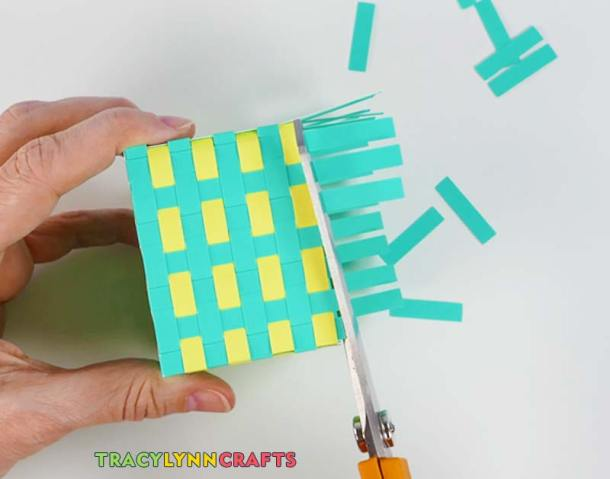 Trim the leftover pieces off the vertical strips