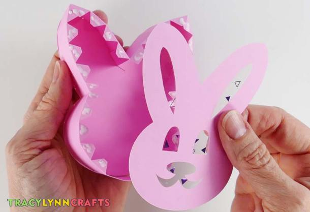 Attach the Easter bunny box top to the wall sections