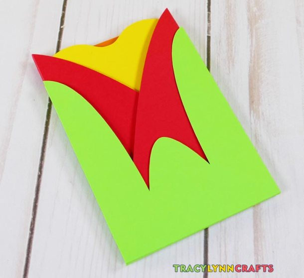Make a floral shaped tulip gift card envelope as a beautiful way to dress up a gift