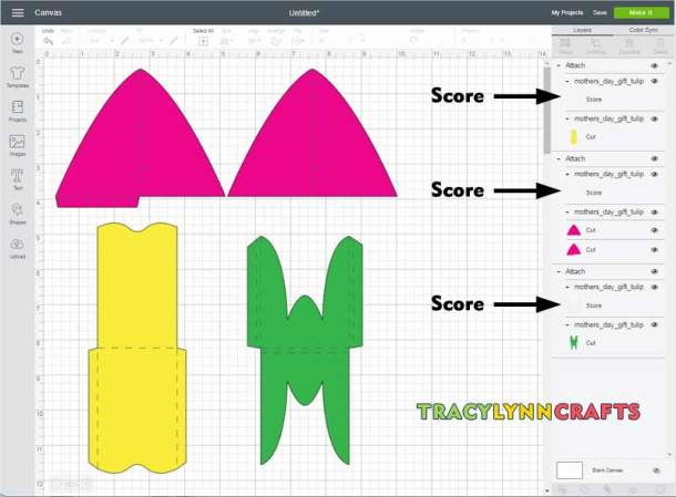 Upload the tulip gift card envelope file to Cricut Design Space