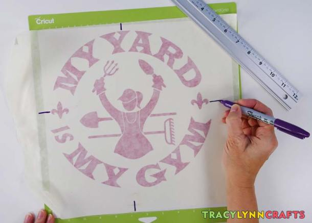 For the My Yard is My Gym design, you can add some marks on the transfer tape to help with alignment