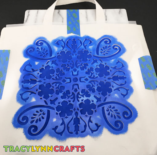 DIY Stenciled Tote Bag Stenciling is Complete