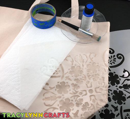 DIY Stenciled Tote Bag Materials and Supplies