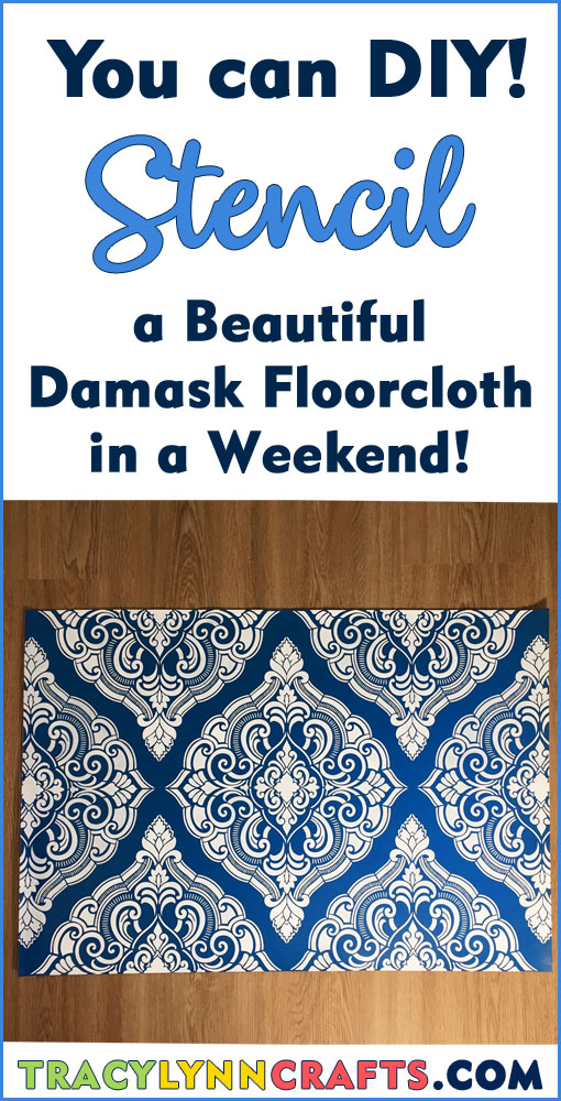 You can make this beautiful damask stenciled floorcloth in a weekend | #diy #stenciling #floorcloth #stenciled