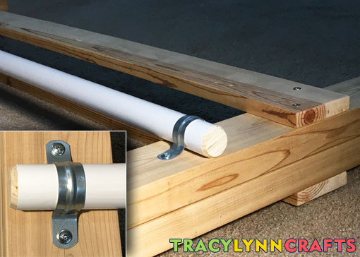 Attach the coated dowel with the conduit clamps