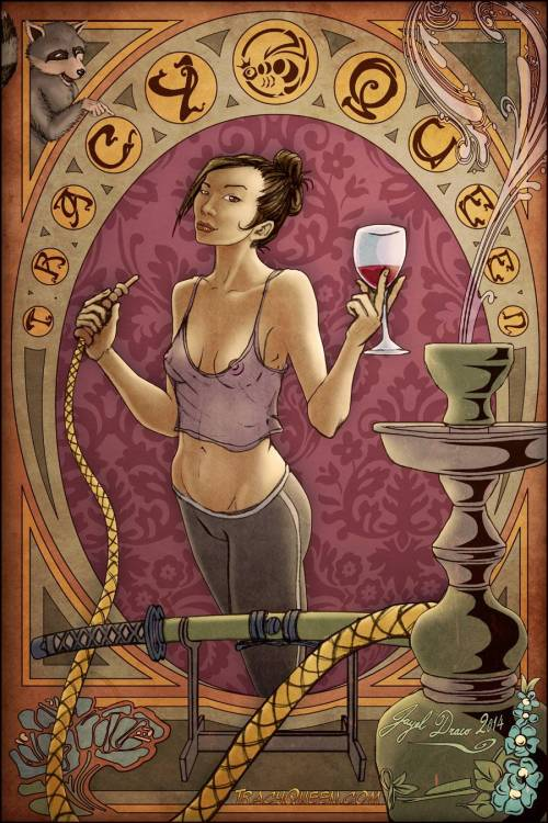 This concept art by Jayel Draco is pretty much how I look right now. PJs, wine, and hookah!