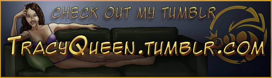 Image for following Tracy queen on tumbler, depicting Tracy lounging on her couch in bikini with sexy come hither stare.