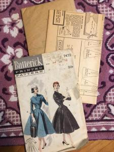 Butterwick 7472 Princess Coat Dress 1950s Vintage Pattern