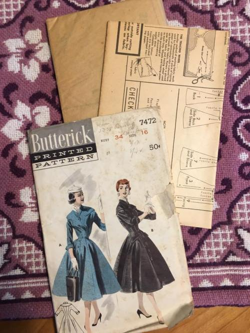 Butterwick 7472 Princess Coat Dress 1950s Vintage Pattern