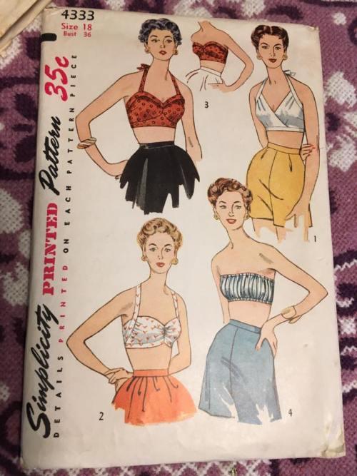Simplicity 4333 Halter Bra Bathing Suit Top Blouse 1940s Vintage Pattern