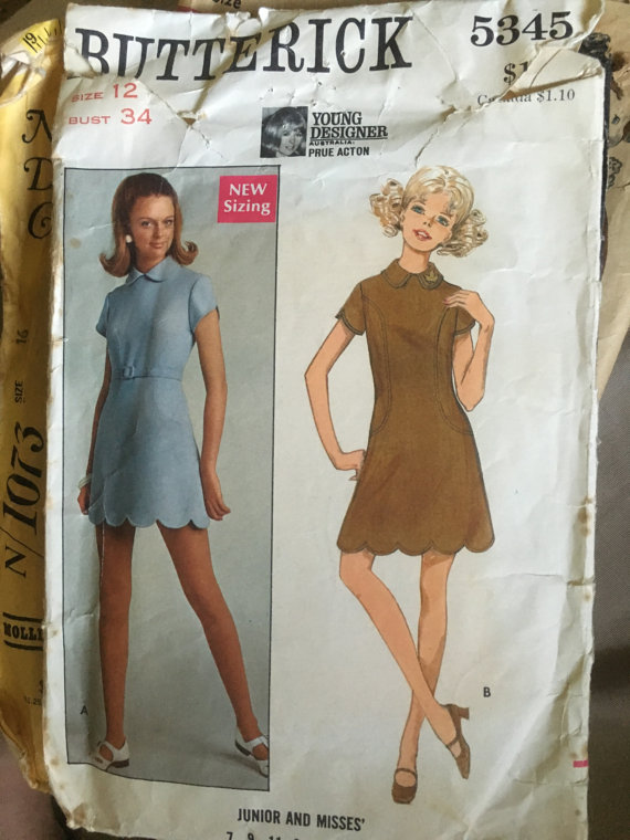Australian Designers Prue Acton Butterwick 5345 Vintage 1960s Dress Pattern